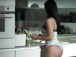 Leggy and nicely shaped dark haired beauty Nelly Kent is analfucked doggy