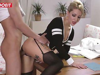 Inked blond step maw is getting her step son's enormous knob deep in her bolt from the blue