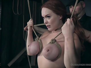 Fat thing tits together with distended nipples of Summer Hart abused down bondage