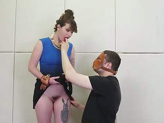 Dude in mask fucks anal hole of one tied up big bottomed brunette