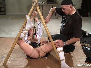 Slutty slavegirl Nyssa Nevers abused in innovative bondage down toys
