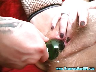 Erika C's hairy vagina penetrated with various affected objects
