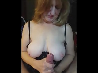 Super handjob leas to a cum explosion after witch she smears the brush boobs with my jizz.