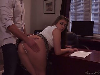 Naughty gal in short skirt Gia Derza wanna be fucked made-to-order the table
