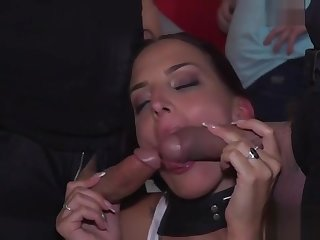 Gigantic and petite Euro slaves disgraced in public