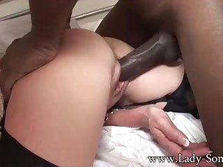 Brit COUGAR gets poked by Chunky BLACK COCK while Cuck witnesses