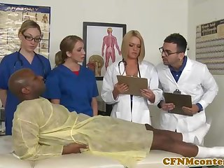 A extraordinary ebony patient is porking a saucy vigilance who luvs to gargle rock hard sausages