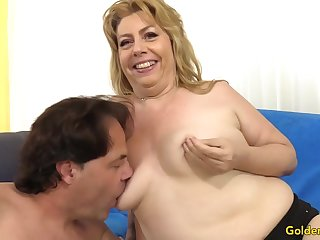 Chubby Granny Penny Sue Shoves Pound Horseshit Between Her Tits plus in Her Holes