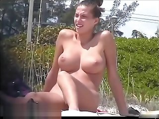 Tanned pierced marvelous babe procurement recorded on the nudist beach