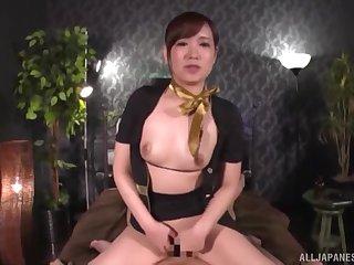 Clothed horseshit riding session at hand Japanese secretary Natsuki Minami
