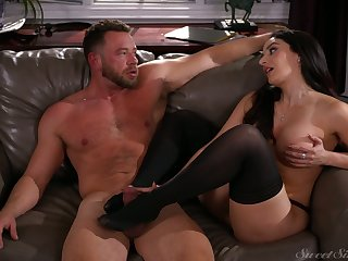 Contain treating man with footjob sexy Sheena Ryder rides stiff dick