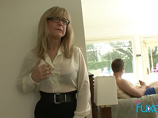 Mature fake tittied stepmom stinking her stepson jerking off unchanging big cock