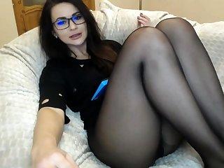 Webcam Dame in schwarzen Strumpfhosen