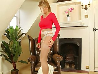 downcast blonde in pantyhose showing her panties