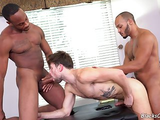 Finale on his face by three big dicks after gay threesome sex