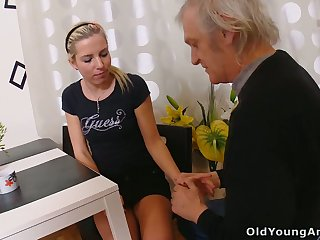 Naturally slim blonde prostitute Nelya is seduced by fucked by older man
