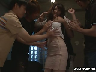 Several students fuck Japanese coed Kanako Iioka and fill their way snatch with cum