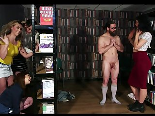 Library Lie in wait - cfnm group femdom orgy with facial cumshot