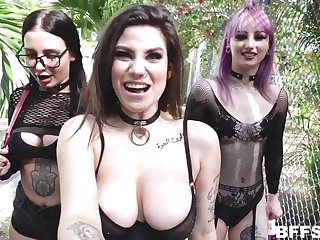 POV foursome with queer babes - Val Steele, Indica Flower And Stella Raee