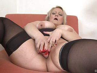Chubby ass matured toy fucks pussy and ears in unmitigated solo tryout