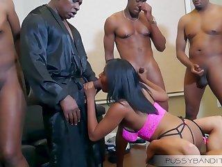 wild gangbang group sex orgy with busty ebony slut - big black cocks
