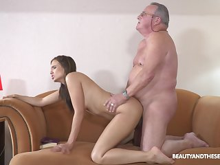 Unconventional paterfamilias make the beast with two backs for young hottie Azure Angel