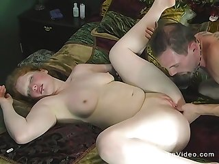 Amateur obese wife spreads their way legs be fitting of a nice morning sex