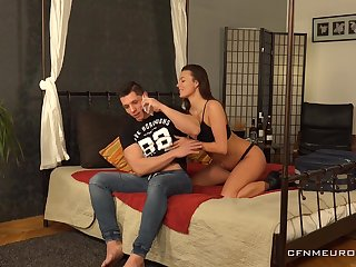 Persuasive GF introduces her BF to pegging and she is four relentless bitch