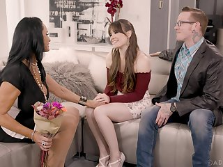 Quite naughty and voracious Alison Rey is impatient to enjoy animal threesome