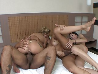 Bi-sexual lovers surrounding dirty shemale foursome