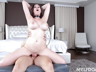 Busty skirt rides with all her energy after a sloppy oral start