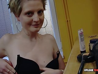 Boyfriend doesn't fake off the camera while recording her during her naked makeup session.
