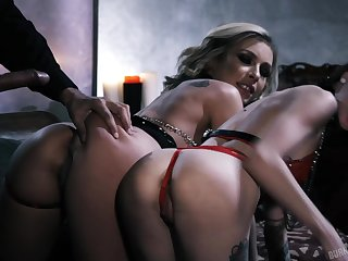 Nice-looking eccentric office FFM threesome with voracious hot bitches