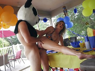 Panda bear with giant dick, lasting sex with the feast-day girl's hot mom