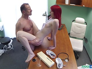 Red-haired slut Anne Swix gets it on with her physician