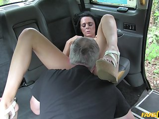 Cab driver pops this brunette's cunt in all directions merciless scenes