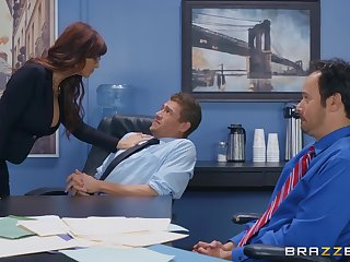 Flaming nude office MILF in crazy scenes of overtime hard sex