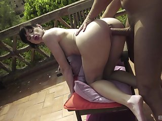 Crazy outdoor fun with a guy's huge dong lose concentration pumps the brush so well