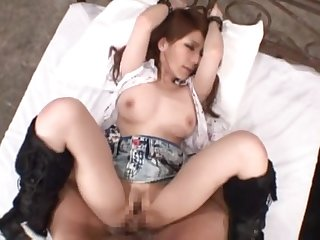 Brunette toddler Mihono Tsukimoto gets her tight cunt banged foreigner behind