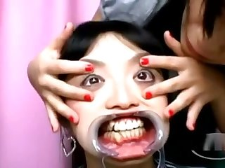 Asian Girl Gag In Mouth Getting Her Teeths Licked Nose Tortured With Hooks
