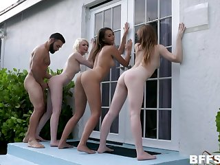 One boy fucks four insatiable babes Lilo Mai, Melody Marks coupled with Alice Pink